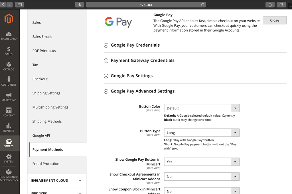 Magento 2 Admin Panel Additional settings for Google Pay