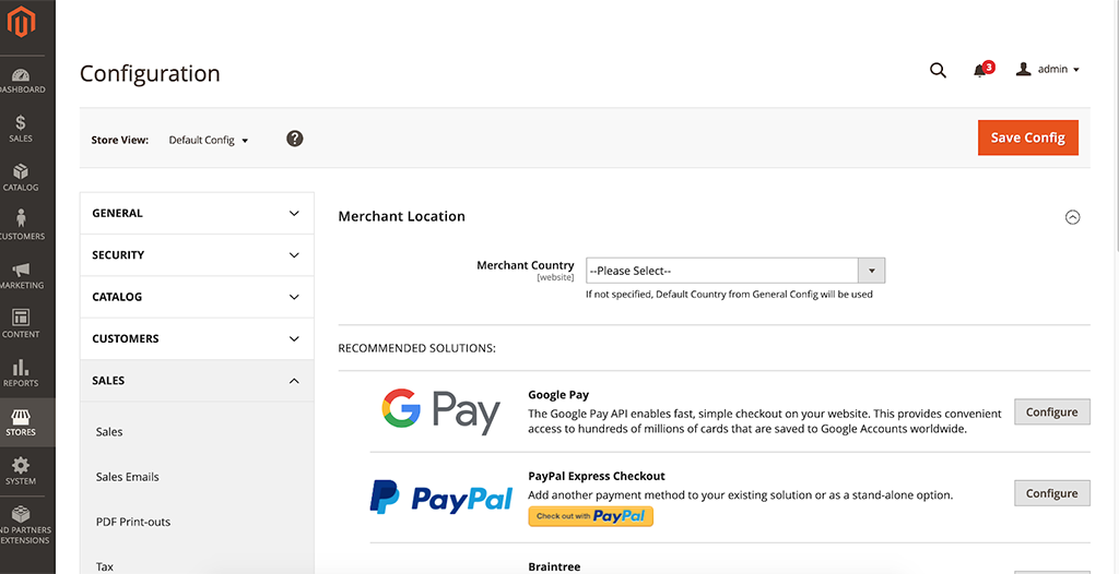Magento 2 Admin Panel Payments Configuration
