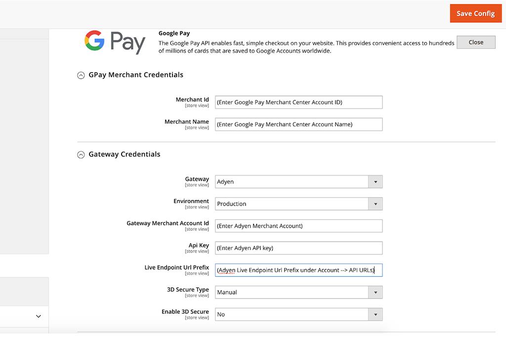 Magento 2 Admin Panel Google Pay Configuration